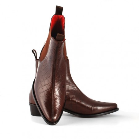 Sale : Classic Boot - Walnut Croc Print Leather