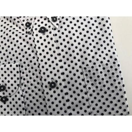 "Sample Sale : White Polka Dot Shirt 15.5"" neck"