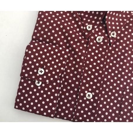 "Sample Sale : Burgundy Polka Dot Print Shirt 17"" neck"