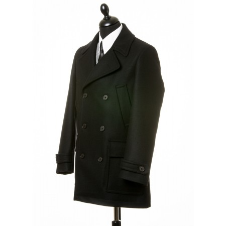 Sale : (Last One Size 40) The Paul Pea Coat - Black Italian Wool