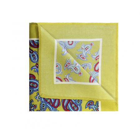 Final Sale : Mustard Yellow With Sky Blue Paisley Printed Silk Pocket Square