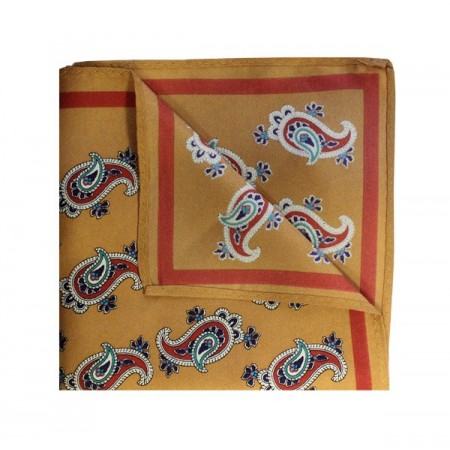 Vintage Gold With Red Paisley Printed Silk Pocket Square