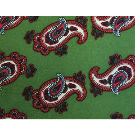 Olive Green With Red Paisley Aviator Scarf