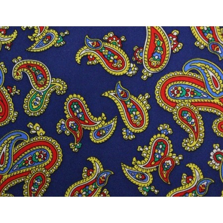 French Navy With Orange Paisley Aviator Scarf