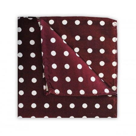 Final Sale : Polka Dot Burgundy Printed Silk Pocket Square