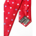 Red With Royal Blue & White Polka Dots Silk Skinny Tie