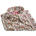 Sale : Red & Teal Paisley - Long Pointed B/D SGL Cuff Shirt