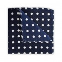 Final Sale : Polka Dot Navy Printed Silk Pocket Square