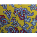 Mustard Yellow With Sky Blue Paisley Silk Skinny Tie