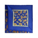 Royal Blue & Orange Silk Pocket Square