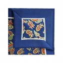French Navy With Orange Paisley Printed Silk Pocket Square