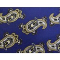 Blue With Yellow Paisley Printed Silk Pocket Square