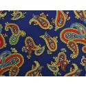 French Navy With Orange Paisley Silk Skinny Tie