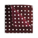 Burgundy With White Polka Dots Printed Silk Pocket Square